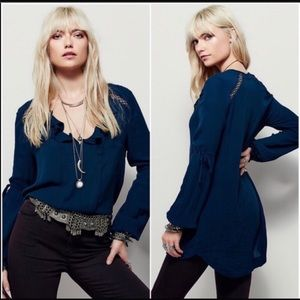 Free People Dream A Little Dream Teal Tunic Top